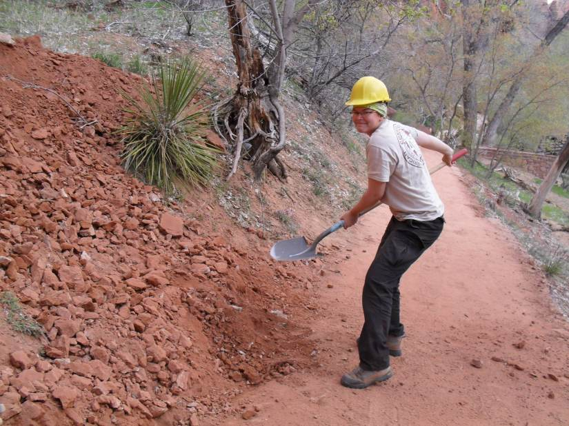 Re-routing a trail in Zion National Park - Utah.