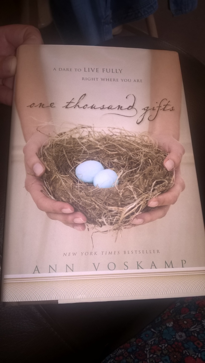 One of my favourite books. Eucharisteo - giving thanks in all things. Brilliant read by Ann Voskamp. Can you count 1000 gifts?